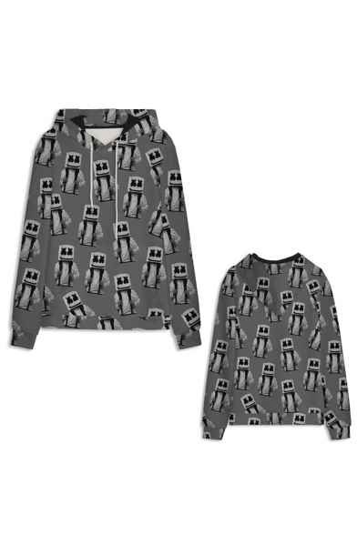 Hot Popular Game Theme Comic Figure 3D Printed Long Sleeve Grey Drawstring Pullover Hoodie