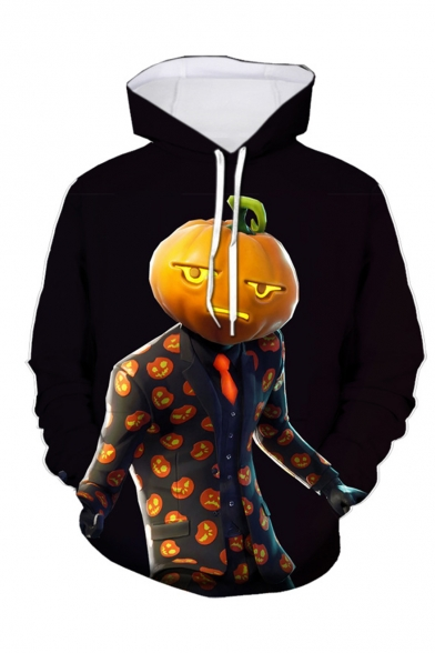 Hot Popular Game Theme Figure Pumpkin 3D Printed Long Sleeve Black Loose Drawstring Hoodie