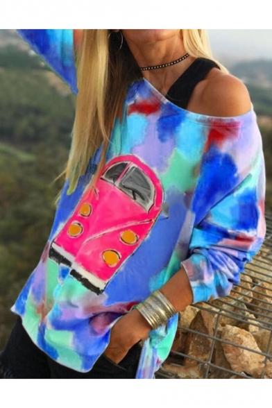 Hot Women's Colorful Print One Shoulder Long Sleeves Pullover Sweatshirt