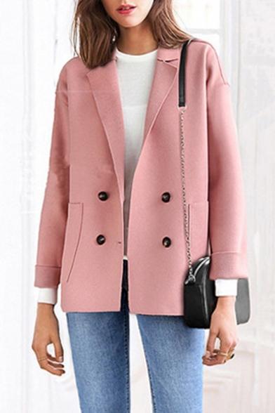 Loose Plain Notched Lapel Collar Big Pocket Double-Breasted Long Sleeve Jacket Coat