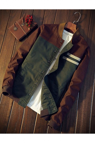 Men's Hot Fashion Long Sleeve Stand-Collar Stripes Print Button Down Green Bomber Jacket