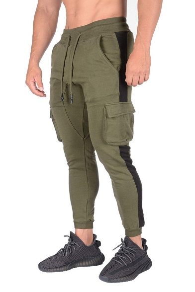 Mens Hot Fashion Colorblock Patched Side Drawstring Waist Sports Fitness Pencil Pants with Side Pocket