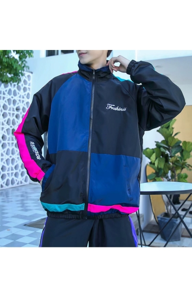 Mens Trendy Colorblocked Zip Closure Letter Printed High Neck Long Sleeve Sports Jackets
