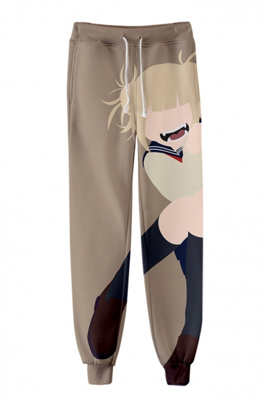 Comic Girl 3D Printed Drawstring Waist Relaxed Fit Casual Joggers Sweatpants