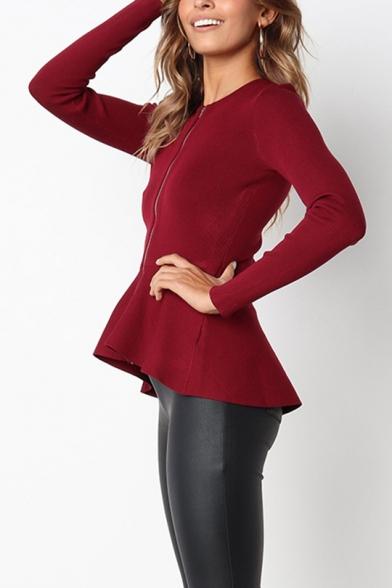 New Arrival Ladies Ruffled Hem Basic Zipper Tailored Fit Jacket Coat