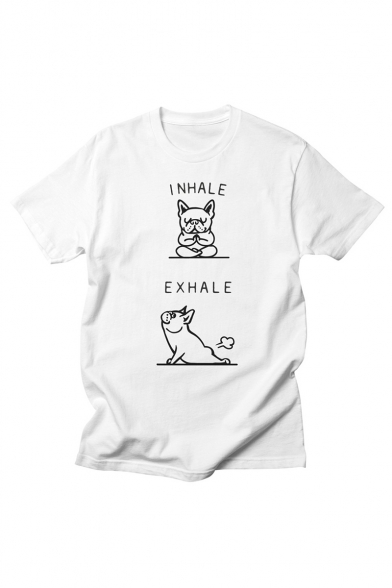 New Fashion Comic Letter I NHALE EXHALE Pattern Round Neck Short Sleeve Loose T-Shirt
