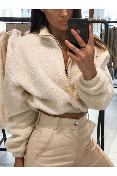 New Fashion White Half-Zip Stand Collar Long Sleeve Plain Cropped Casual Fluffy Shearling Sweatshirt