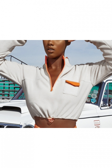New Fashion White Half-Zip Stand Collar Long Sleeve Plain Cropped Sweatshirt With Pocket
