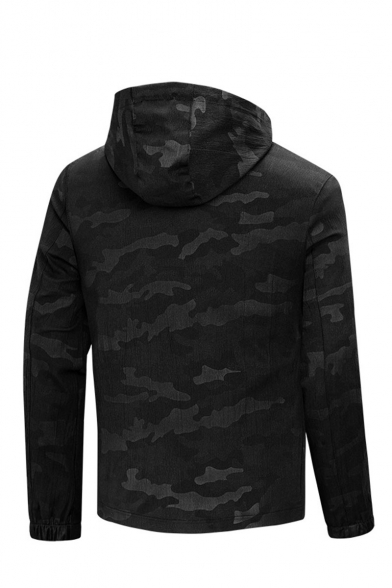 New Style Unique Camouflage Printed Long Sleeve Hooded Zip Up Track Jacket for Men