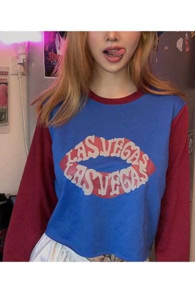 New Stylish Letter Lip Print Color Block Round Neck Long Sleeve Blue Cropped Pullover Sweatshirt