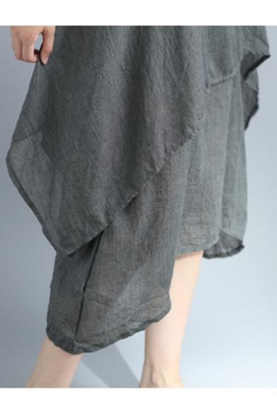 New Stylish Plain Round Neck Short Sleeve Layered Fake Two-Piece Maxi Linen Dress