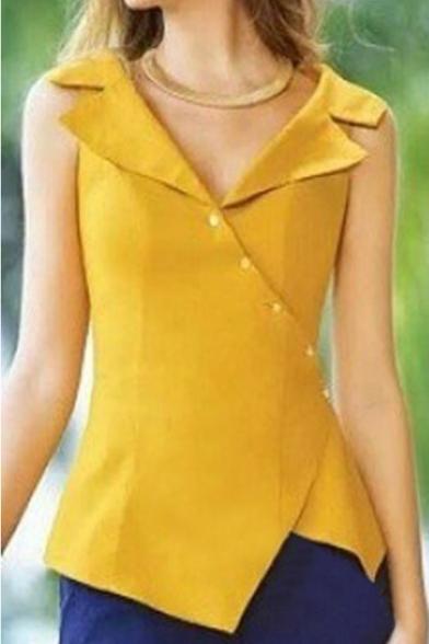 New Stylish Sleeveless V-Neck Plain Asymmetric Collar Button Down Casual Shirt