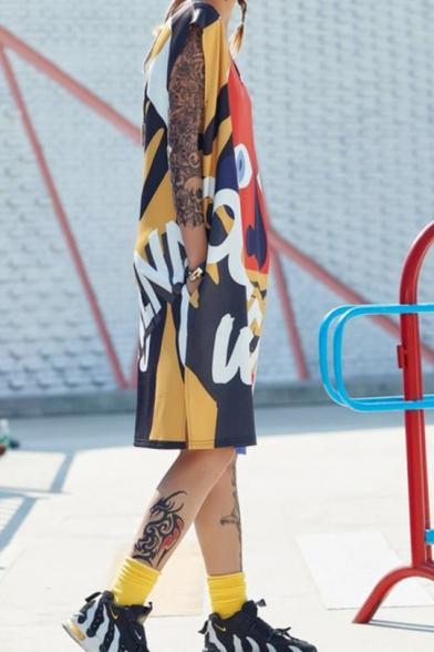 New Trend V-Neck Sleeveless Character Graffiti Print Letter Slit Midi Shift T-Shirt Tank Dress