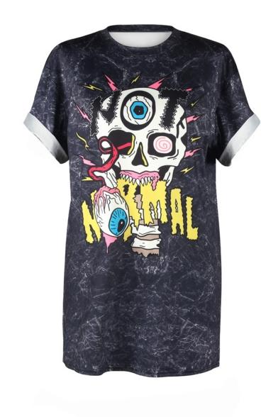 New Trendy Funny Letter Skull Printed Round Neck Short Sleeve Sport Black T-Shirt