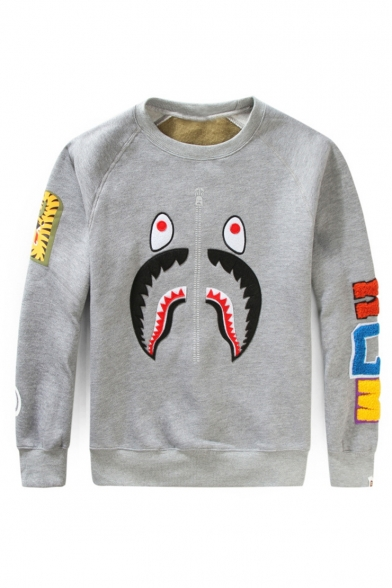 Popular Cartoon Shark Camouflage Letter Pattern Embroidery Detail Round Neck Long Sleeve Casual Pullover Sweatshirts