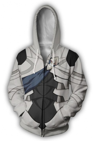 Popular Fire Comic Cosplay Costume Long Sleeve Zip Up White Drawstring Hoodie