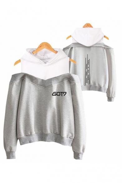Popular Kpop Boy Band Logo Cold Shoulder Long Sleeve Hoodie, Black;dark navy;pink;gray, LC555803