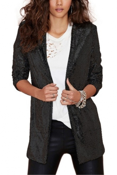 Spangly Long Sleeve Collarless Mid-length profile Blazer Outerwear