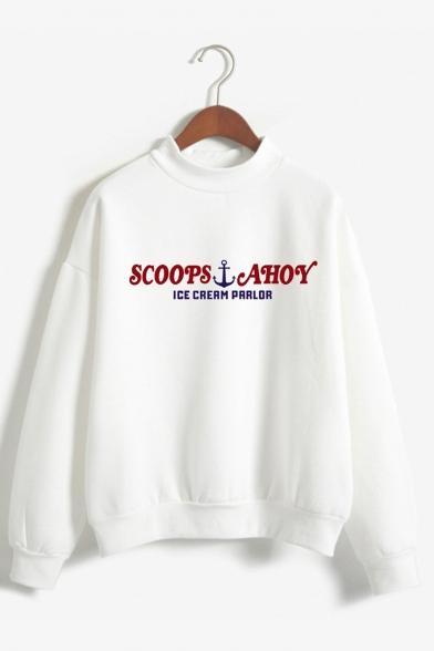 Letter Printed Mock Neck Long Sleeve Pullover Sweatshirt