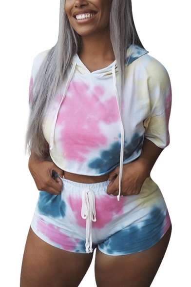 Summer' New Tie Dye Print Short Sleeve Hoodie T Shirt with Drawstring Sporty Shorts Two Piece Set, LM556110