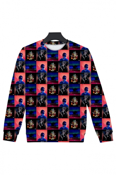 The Rapper Funny Figure 3D Printed Long Sleeve Round Neck Sports Pullover Sweatshirts