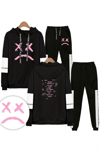 Trendy Casual Letters Print Long Sleeve Loose Hoodie with Elastic Sweatpants Co-ords, Black;white;gray;navy, LM556317