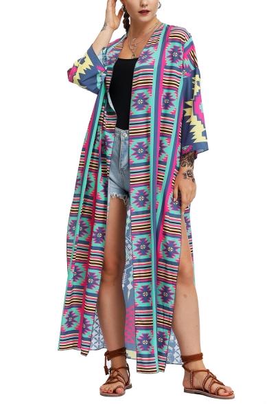 Tribal Print Split-Side Long Sun Protect Vintage Coat