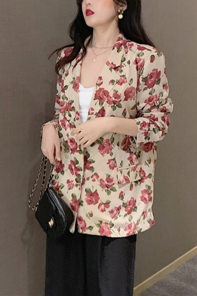 Vintage Floral Print Lapel Collar Long Sleeve Causal Blazer with Pocket