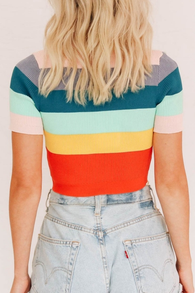 Winter Hot Fashion Rainbow Striped Printed Shorts Sleeve Cropped Knitwear Cami Tee
