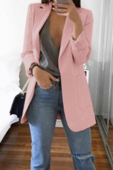 Women's Elegant Lapel Collar Open Front Long Blazer with Pocket