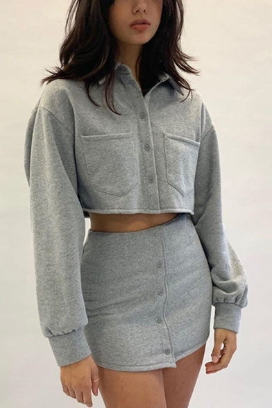 Womens Casual Grey Polo Collared Single Button Cotton Long Sleeve Crop Top Mini Tube Skirt Co-ords, LM556498