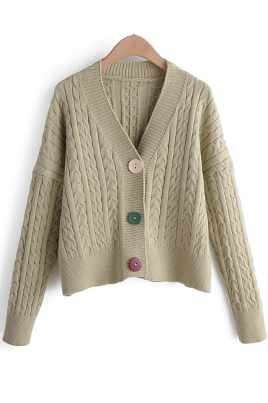 Womens Casual Plain V Neck Ribbed Knit Long Sleeve Open Front Button Cardigan