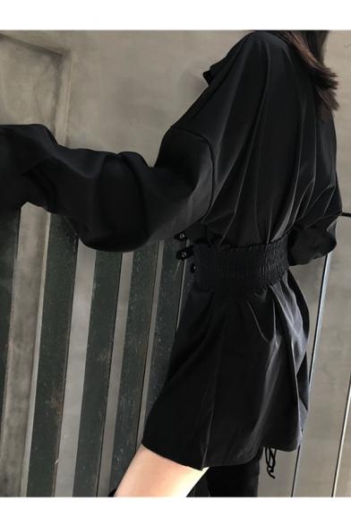 Womens Lapel Collar Long Sleeve Belted Button Down Mini Casual A-Line Shirt Dress