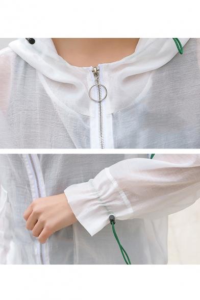 Womens New Stylish Simple Stripe Print Long Sleeve Hooded Zip Up Breathable Skin Jacket Coat