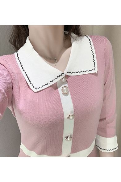 Womens New Trendy Lapel Collar Half Sleeve Single Breasted Up Contrast Piping Pleated A-Line Mini Dress