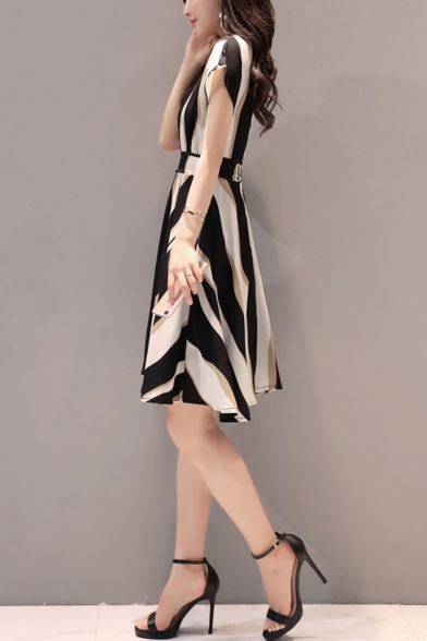 Womens New Trendy Round Neck Short Sleeve Belt Striped A-Line Midi Dress