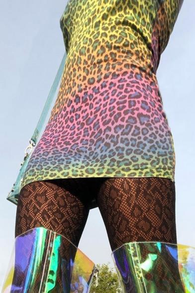 Womens Sexy Off the Shoulder Sleeveless Multi Leopard Print Sheath Wrap Mini Dress