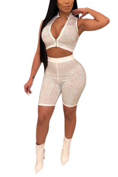 Womens Sexy Plunge V-Neck Stand Collar Crop Top with Skinny Shorts White Sequined Two-Piece Set