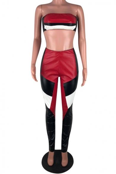 Womens Stylish Sexy Night Club Bandeau Top with Skinny Pants PU Two-Piece Set