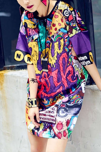 Womens Summer New Trend Hip-Hop Character Print Round Neck Short Sleeve Loose Midi Shift T-Shirt Dress