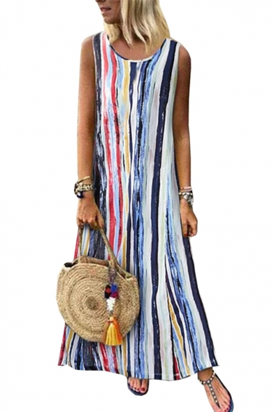 Womens Summer Round Neck Sleeveless Dyed Striped Swing Maxi Dress