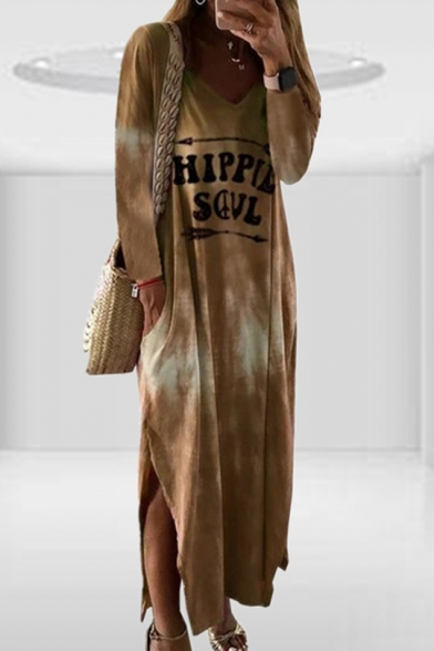 Baycheer / Womens Summer Simple V-Neck Long Sleeve Ombre Tie Dye Letter HIPPIE SOUL Print Slit Sheath Maxi Dress