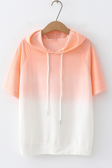 Womens Sweet Cute Short Sleeve Colorblock Patch Straight Gradient Hooded T-Shirt