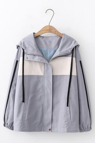 Womens Trendy Color Block Tape Stripe Long Sleeve Zip Up Leisure Hooded Jacket