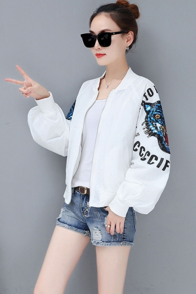 Womens Trendy Letter Sequined Tiger Long Sleeve Zip Up Baseball Jacket