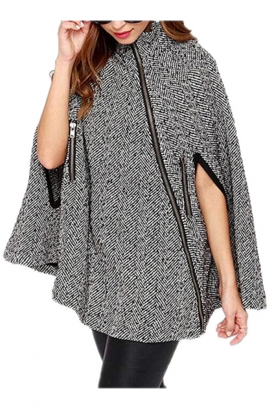 Womens Trendy Plaid Printed Stand Collar Oblique Zip Up Wool Cape Coat