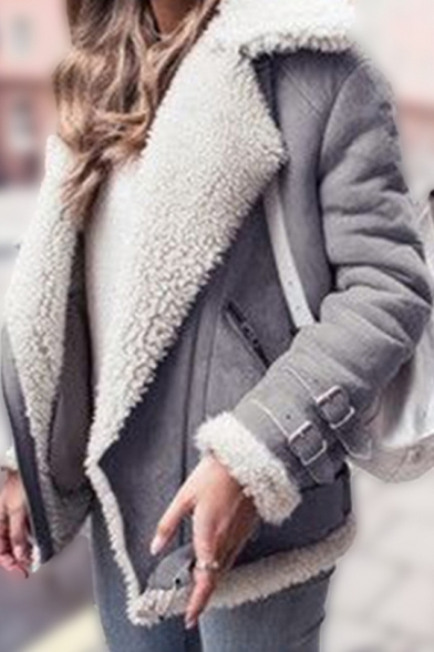 Womens Winter Hot Trendy Notched Lapel Collar Long Sleeve Motor Faux Shearling Jacket