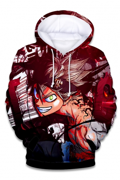 Black Clover Comic Anime Character 3D Printed Long Sleeve Red Drawstring Pullover Hoodie