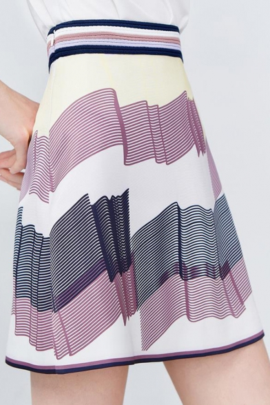 Chic Sweet Womens Colorblock Contrast Trim High Waist Midi A-Line Skirt LM551797 фото