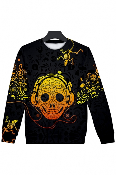 Couple 3D Skull with Earphone Printed Long Sleeve Round Neck Black Casual Pullover Sweatshirt LM555019 фото